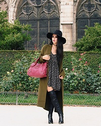 Narjisse Ammor - Rag & Bone Felt Hat, Zara Choker, Sandro Long Coat, Balenciaga Bag, Ralph Lauren Dress, Kurt Geiger High Knee - Gipsy Street Chic