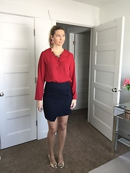 Cindy Batchelor - Amazon Red Button Down Blouse, Amazon Nude Heels, Houda Statement Necklace And Earring Set, Avngns Navy Pencil Skirt - Red Blouse, Navy Skirt, Statement Necklace, and Nude Heels