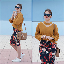 Carolina González Toledo - Monglam Sunglasses, Zaful Sweater, Mango Pencil Skirt, Zara Bag, Stradivarius Sneakers - Jersey cuello chofer de Zaful
