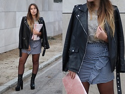 Claudia Villanueva - Zara Jacket, Pull & Bear T Shirt, Rosegal Skirt, Asos Clutch, Public Desire Boots - My first ruffle skirt