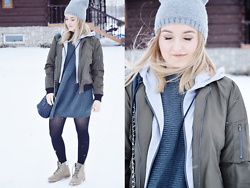 Sispolitan Lach - Reserved Beanie, Shein Bomber Jacket, Shein Dress, Zara Shoes, Mohito Bag - Bomber Jacket With Hood