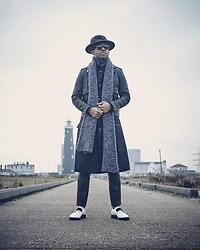 Martell Campbell - Comme Des Garçons Wool Hat, Am Eyewear, Paul Smith Alpaca Wool Scarf, The Kooples Leather Biker Jacket, Y 3 Long Jersey Jacket, D'lyle Treasure White Button Detail Shoes - Layers