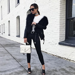Jessi Malay - Saint Liz Silver Choker (Similar Here), Topshop Moto Black Jeans, Tony Bianco Kitzy Heel Mule, Saint Laurent Small College Bag, Le Specs Weekend Riot Glasses, Faith Connexion Off Shoulder Leather Jacket, Barbara Bui Fur (Similar Here) - B + W