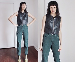 Maria Elba Torres - Leather Vest, Vintage Corduroy Green Pants, Vintage Glitter Platforms - Leather Vest Hello