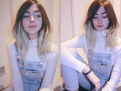 Virginia Moon - Forever 21 White Ribbed Turtleneck Top, Forever 21 Distressed Overalls - Simple Feelings