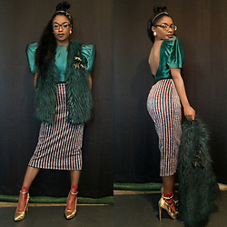 Gala F - Dillards Green Faux Fur Gillet, Urban Outfitters Glitter Stripe Skirt, Thrift Store Green Satin Vintage Dress - .:: Glamorous Green ::.