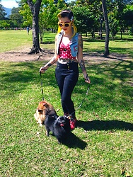 Yaz Ugalde - Forever 21 Red With White Dots Top, Legrand Leseur Yellow Sunglasses, Dr. Martens Demented Are Go Boots, Arctic Fox Hair Color Cosmic Sunshine Dye - Walking the dogs