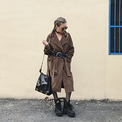 Vita Chen - Vii & Co. Double Breasted Corduroy Coat, Vii & Co. Grommet Ring Chokers, Chanel Vintage Bag, Buffalo Platforms - Tan color
