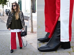 Claudia Villanueva - Sunday Somewhere Sunglasses, Zara Jacket, H&M Sweater, H&M Bag, Zaful Pants, Pull & Bear Boots - Sporty Chic in 2017