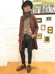 Eragon 莊 - Asos Light Tan Coat, Zara Brown Scarf, Asos Carved Leather Shoes - Today style 17/ 0117