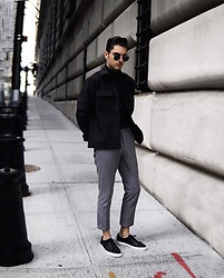 Phil Valles - H&M Jacket, Ray Ban Sunglasses, H&M Trousers, H&M Roll Neck - New Year Neutrals