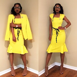 Gala F - Dillards Yellow Blazer, Yellow Dress, Public Desire Perspex Heels - .:: Yellow Suites, Brown Skin ::.