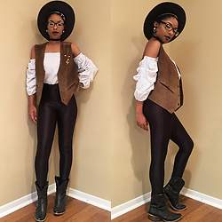 Gala F - American Apparel Black Disco Pants, Know Style Off The Shoulder Top, Thrift Store Vintage Suade Vest, Dillards Black Cowboy Boots - .:: Smooth Rodeo ::.