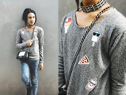 Kylie Rodriguez - Jukaykay Sweet Patches Top, Apostrophe Chain Choker, Parisian Mini Crossbody Bag, Hot Topic Splattered Paint Skinny Jeans - Lucky for you, that's what I like.