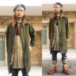 @KiD - Grace Hat Crazy Beret, Neuw Denim Military Coats, Histeric Gramour Mods Coats, Christpher Nemeth Crash Pants, Dr. Martens Oi Of Japan Boots - Japanese Trash 91
