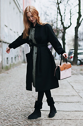 Jorinna Scherle - Valentino Dress, Valentino Bag, & Other Stories Coat, Salvatore Ferragamo Boots - Valentino / Ferragamo Berlin Fashion Week Street Style