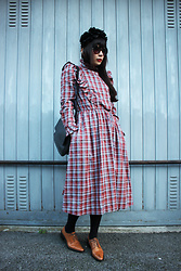 Ping Chiu Armando - Plaid Dress, Black Bag - Red Plaid Dress
