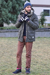 Hector Diaz - H&M Parka (Similar), Carolina Herrera Sweater (Similar), Club Monaco Plaid Shirt, J. Crew Brown Chinos, Club Monaco Hat (Similar), Uniqlo Gloves, Tommy Hilfiger Boots (Similar) - Winter in Seattle