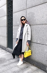 Carrie Tong - Zara Bell Sleeves Sweater, 3.1 Phillip Lim Bag, Adidas Velcro Sneakers - Grey on Grey