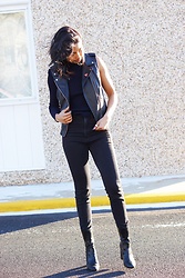 Angelina D'Souza - Zara Leather Vest, Asos One Arm Sweater, H&M Black Skinny Jeans, H&M Black Sock Boots, Bando Dat Ass Pin - Hue