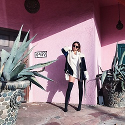 Jessi Malay - Storets Velvet Shearling Moto Jacket, Tony Bianco Dimity Boots, Saint Laurent Monogram College Bag, Bebe Oversized Sweater - Layering in Cali | Velvet Shearling Moto Jacket