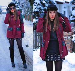 Jointy&Croissanty © - Bonprix Jacket, Mitchell And Ness Snapback - Burgundy winter parka and skirt with eyelets