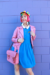 Kate Hannah - Lazy Oaf Rainbow Dress, Cambridge Satchel 13 Inch (Classic Pink), The Ragged Priest Memo Biker Jacket, Marina Fini Yin Yang Earrings - Pink Lady