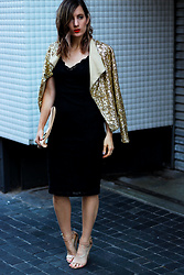 Emily S - Gold Sequin Jacket, Forcast Black Lace Midi Dress, Nude Heels - Sequins