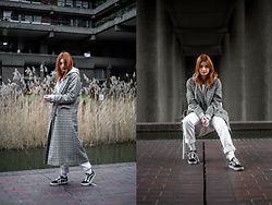 Hannah Louise - Topshop Checked Coat, Levi's® White 501s, Vans Old Skools - Checked Coat