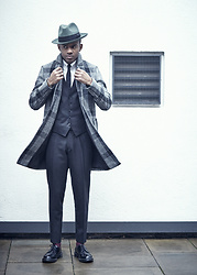 Martell Campbell - Paul Smith Wool Felt Trilby, Asos Harris Tweed Wool Coat, Moss Bros Wool Suit, Dr. Martens Derby Shoes - Classic Mr.Flyy