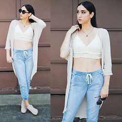 Valerie Hoffmann - Forever 21 Round Sunglasses, Forever 21 Crochet Bralette Top, Cotton On Denim Joggers, Cotton On Light Sweater, Dolce Vita Suede Booties - Comfy Crochet