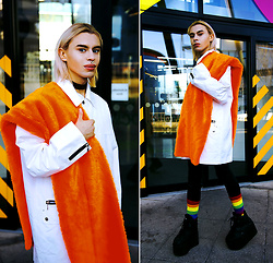 Milex X - The Black Market Jacket, Open Your Dolls Please Choker, Happy Socks, Topman Jeans, Buffalo Platforms - ORANGE ALTER