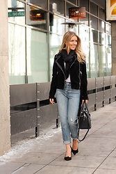 Amber Wilkerson - Levi's® Denim, Steve Madden Heels, Fair Child Jacket, Nordstrom Scarf - Look Effortlessly Chic in a Studded Moto