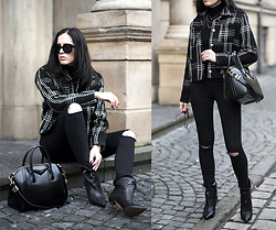 The Day Dreamings - Triwa Sunglasses, Givenchy Bag, Zara Ripped Jeans, Storets Blazer, Aquazurra Boots - The power of black