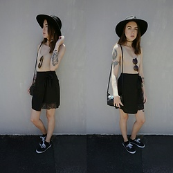 Kelsi Goodwin - American Apparel Nude Bodysuit, Missguided Black Skirt, Keds Sneakers, Missguided Sunglasses, Thrifted Hat - Summer Style