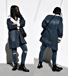 Karla P - Sheinside Denim Shearling Lined Coat - N o r m c o r e