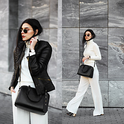 CLAUDIA Holynights - Romwe Turtleneck Sweater, Leather Skin Jacket With Gold Details, Zara Pants, Ego Boots, Vipme Bag, Vipme Bag, Daniel Wellington Watch + Cuff - White winter