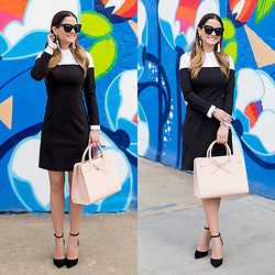 Jenn Lake - 1.State Black White Collar Dress, Mansur Gavriel Pink Sun Bag, Kate Spade Black Pax Pumps, Baublebar White Tassel Earrings, Quay Sugar And Spice Sunglasses - Black White Collar Dress