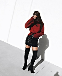 Karla P - Sheinside Red Oversized Turtleneck - P a t e n t