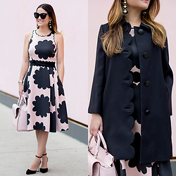 Jenn Lake - Kate Spade Pink And Black Midi Dress, Kate Spade Black Scallop Coat, Kate Spade Leewood Place Makayla Satchel, Kate Spade Pax Ankle Strap Heels, Kate Spade Pearl Statement Earrings, Quay Sugar And Spice Sunglasses - Pink and Black Midi Dress