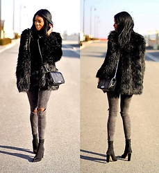 ASSITAN T. - Zara Ripped Jeans, Public Desire Sock Boots, Rebecca Minkoff Love Crossbody Bag - Fake fur and paint splashes