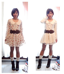 Nowaki Selenocosmia - Liz Lisa Winter Dress, Claire's Cream Socks, Liz Lisa Cream Cardigan, Sheinside Brown Belt - Hime gyaru 2