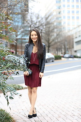 Kimberly Kong - Lifestyle Clothiers Pleated Minidress, Ann Taylor Faux Leather Moto Jacket, Trollbeads Pendant Necklace - The Pleated Mini-dress:  The V-day Edition