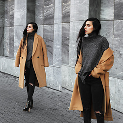 CLAUDIA Holynights - Shein Turtleneck Sweater, Frontrowshop Coat, Ego Boots - Camel and dark grey