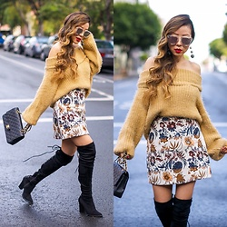 Sasa Zoe - Only $25 Sweater, Sunglasses, Earrings, Skirt, Boots - FUZZY MANIC MONDAY