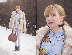 Julia F. - Asos Fur Coat, Dresslily Denim Dinosaur Sequin Shirt, Mango Jeans, Accessorize Bag, Catwalk (Deichmann) Boots - Dinosaur sequin shirt