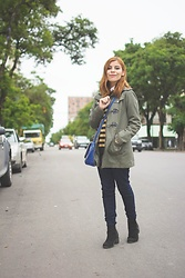 Deborah Ferrero - Olive Military Parka, Striped Sweater, Skinny Jeans, Black Ankle Boots - CASUAL DAYS