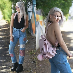 Kristen Prater - Esqape Sunglasses, American Apparel Bodysuit, The Ragged Priest Patch Jeans, Unif Thrash Boots, Lamoda Backpack - All Patched Up