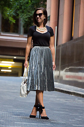 Lindsey Puls - Shein Metallic Skirt, Pinkbasis Bow Heels, Modcloth Top, Happiness Boutique Pearl Necklace - Pearls, Bows & Metallic Skirts