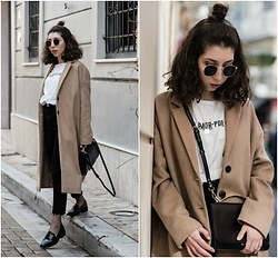 Theoni Argyropoulou - Sunglasses, H&M Necklace, Zara Printed T Shirt, Cross Body Bag, Stradivarius Camel Coat, Asos Slim Mom Jeans, Fishnet Socks, Patent Loafers - Black x White x Camel on somethingvogue.com